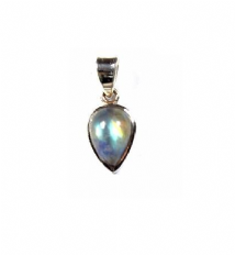 Cute Pearshape Rainbow Moonstone Pendant Silver